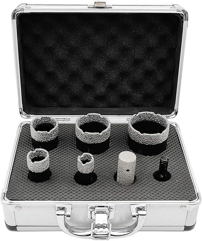 SHDIATOOL 7-Piece Diamond Hole Saw Kit for Porcelain Tile Ceramic Marble Brick Vacuum Brazed Core Drill Bits Set(A85458K2)