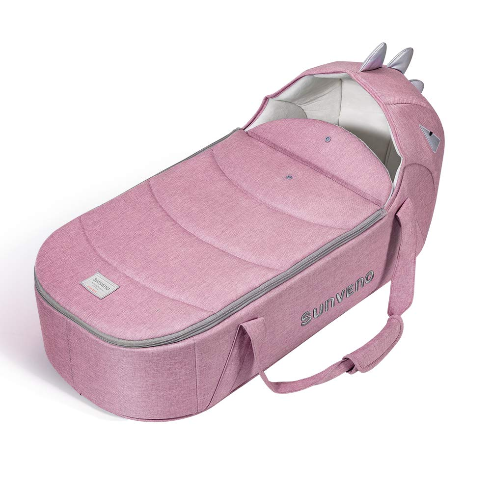 SUNVENO Baby Carrycot Bassinet Bed Lounger Travel Portable Newborn Infant Nest Basket Soft Sleeping Bed for 0-12month (Pink) by SUNVENO