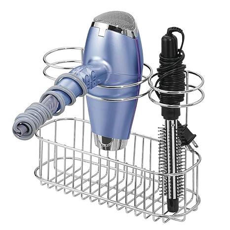 Chrome Brushes mDesign Bathroom Wall Mount Hair Styling Tools Organizer for Straightener Hair Dryer