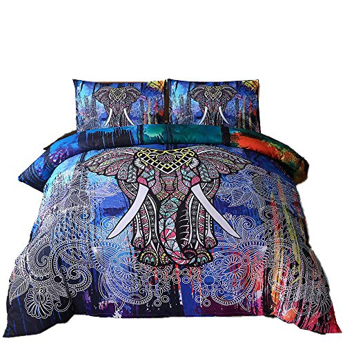 Mandala Duvet Cover Set, Bedding Sets Soft Luxury Microfiber Comforter Cover, Elephant Pattern Kids Teens Adults Quilt Cover with Zipper Closure (Colorful, 3pcs, Queen Size)