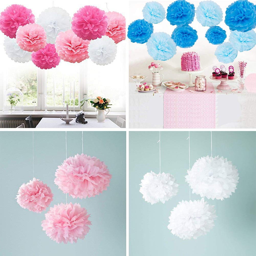 10 Rainbow Colors Table and Wall Decoration Birthday Celebration BENECREAT 20 Pieces Paper Pom Poms Paper Flowers Perfect for Wedding Decor