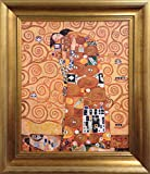 Gustav Klimt Fulfillment of Embrace FRAMED Original Oil Painting Love Art