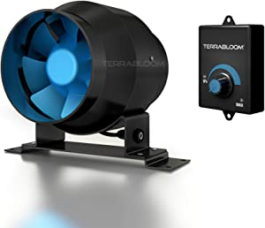 """TerraBloom ECMF-100, 4"""" Inline Duct Fan with 0-100% Speed Controlled EC Motor, Metal Case, Energy Saving. For Ventilation Boosting, Heating, Humidity and Exhaust Blower For Grow Tents"""