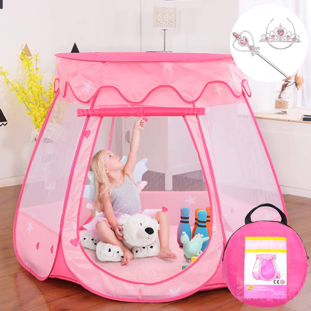 an image of a princess pop-up tent in color pink with storage bag