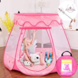 """Gentle Monster Pop Up Princess Tent, Pink Princess Castle for Girls Fairy Play Tents for Kids, Portable Playhouse Toy Suitable for Indoor or Outdoor Use 49"""" X 33"""" Large"""