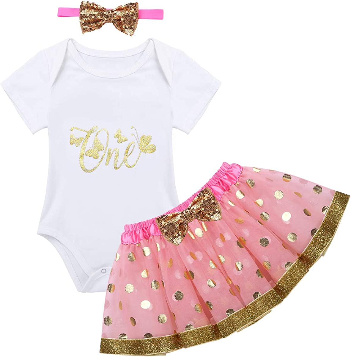 ACSUSS Infant Baby Girls First Birthday Party Outfits Short Sleeves Romper with Tutu Skirt Headband Set