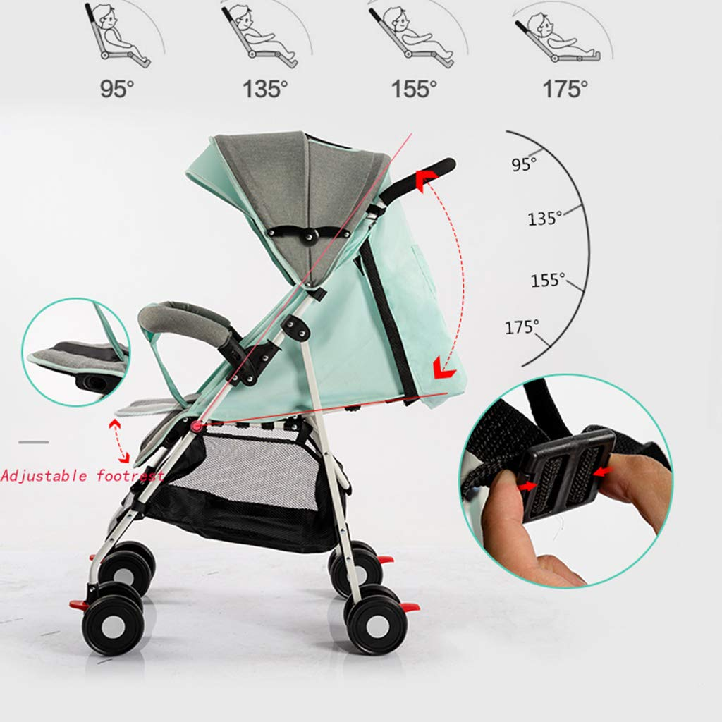 OCYE Stand-On Tandem Stroller/Standing/Sitting Double Stroller/Double Jogger, Lightweight Three-Speed Adjustable Awning Oversized Storage Basket Pedal, Gray by OCYE (Image #6)