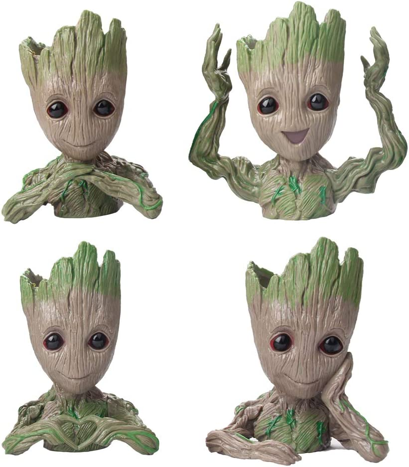 Flowerpot Treeman Baby Groot Succulent Planter Cute Green Plants Flower Pot (4 Styles in one Box)