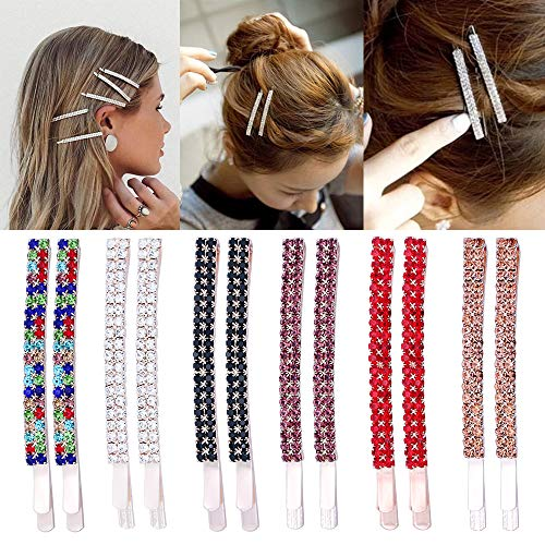 - 12 Pieces Rhinestone Bobby Pins Crystal Hair Pins Metal Hair Clips Decoration for Women Girls