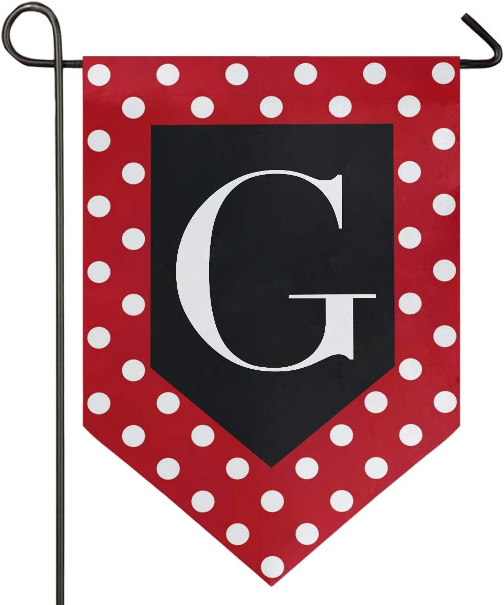 Oarencol Monogram Letter G Red and White Polka Dot Pattern Garden Flag Double Sided Home Yard Decor Banner Outdoor 12.5 x 18 Inch