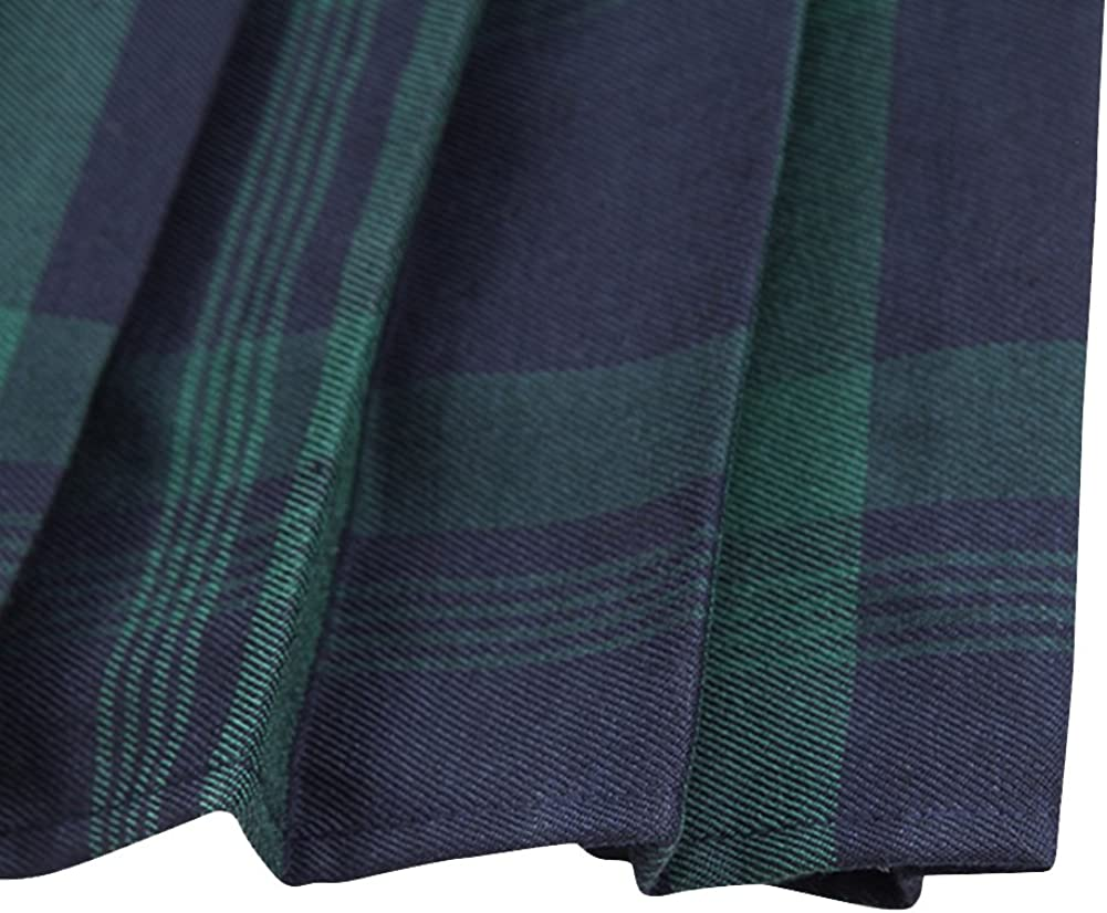 EXCHIC Womens Tartan Elastic Pleated Plaid Skirts Schoolgirls Mini A-line Skirt Cosplay Costumes