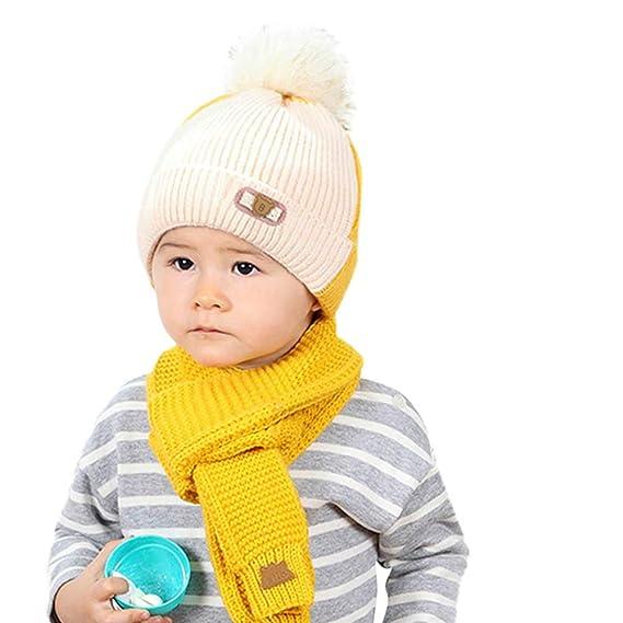 6abd1babf Mitlfuny Niñas Niños Invierno Cálido Grueso Gorro de Beanie de Tejido  Infantil Babero de Punto para Niña Coincidencia de Colores Sombrero de Pelo  de Bolas+ ...