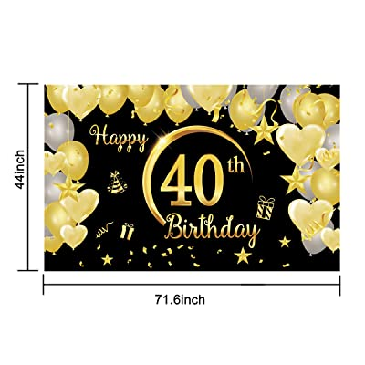 Latoy 30th Happy Birthday Banner Party Backdrop Background Decorations,Birthday Sign Poster Black Gold Supplies for 30th Birthday Anniversary 71.6in x 44in 30 Years