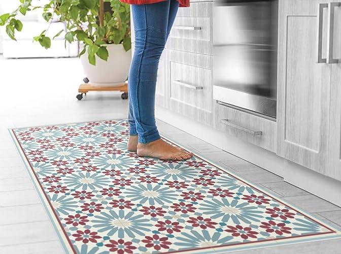 Amazon.com: Vinyl floor mat with Moroccan tiles in blue and ...