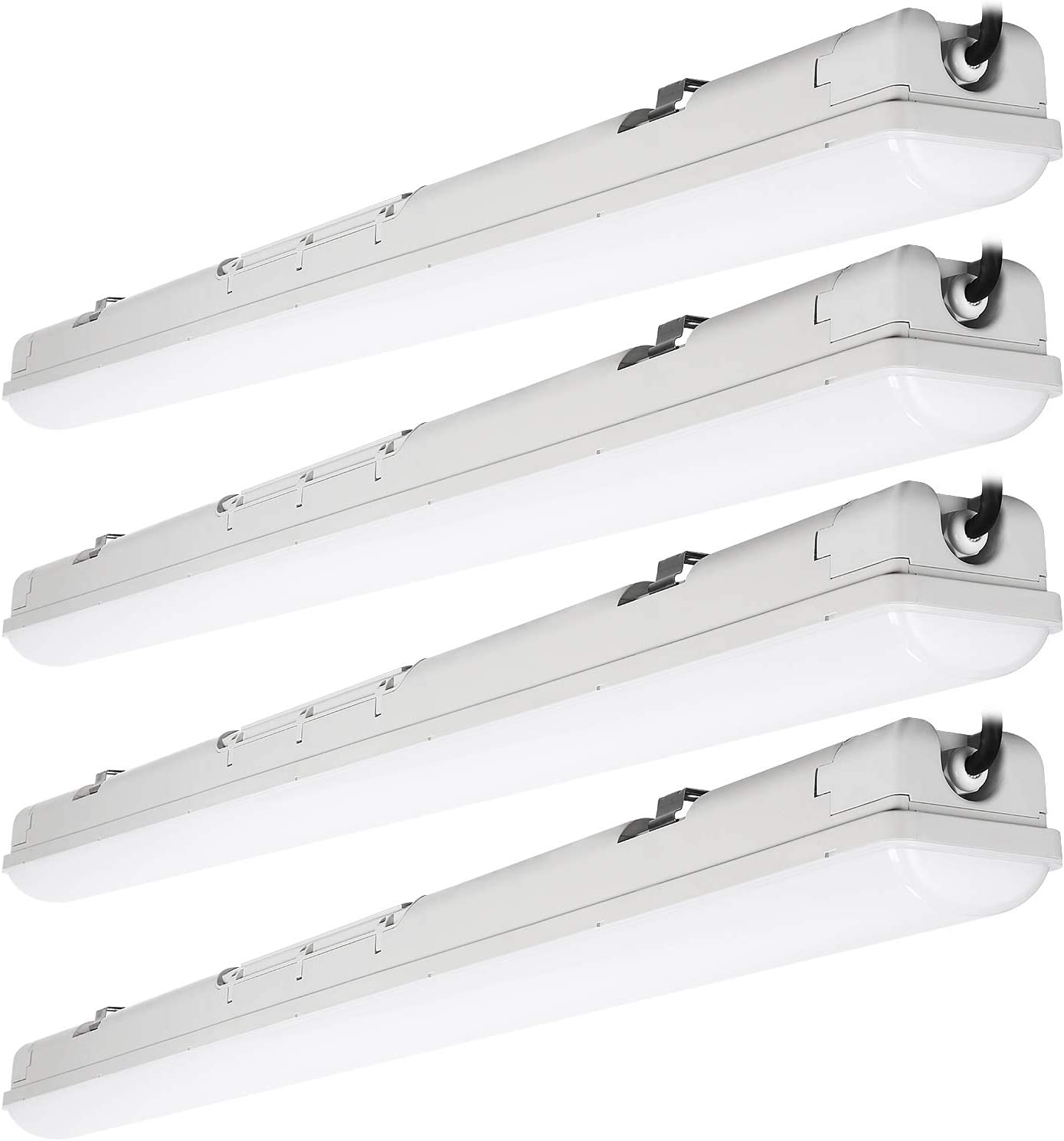 LEONLITE 40W 4FT LED Vapor Proof Light, 100W Eqv. UL Listed, 4400Lm, 5000K Daylight, IP65, CRI80+, 100-277V, Waterproof Shop Light for Parking Garage Wash Warehouse, Pack of 4