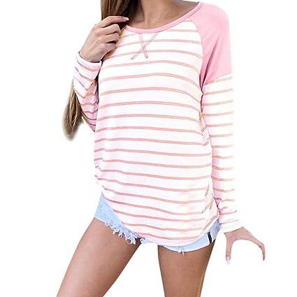 Belasdla Mujer Elegante Camisa De Manga Larga Moda Raya Costura Ocio Camiseta Rosa Top: Amazon.es: Ropa y accesorios