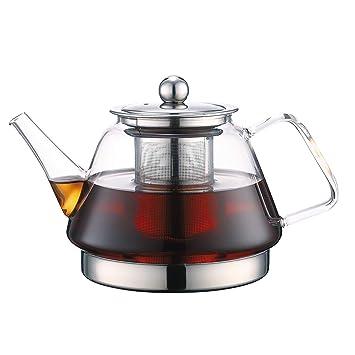 TOYO HOFU Tetera de cristal claro con infusor resistente al calor estufa de gas seguridad/cocina de inducción seguridad desmontable infusor de acero ...