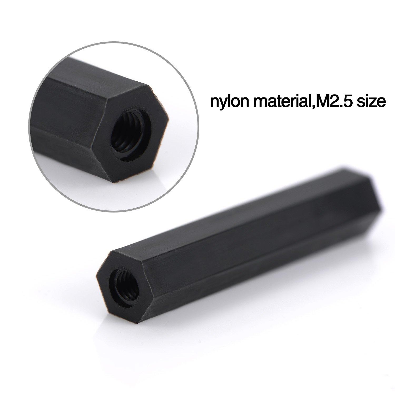 Nylon Black 280 Pieces M2.5 Female-Female Hex Spacers Standoffs Screws Nuts Kit