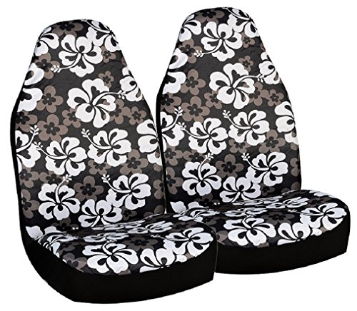 Allison 67-0346BLK Black Hawaiian Print Universal Bucket Seat Cover - Pack of 2