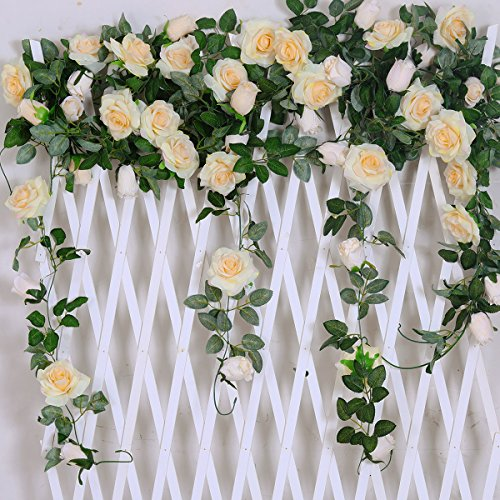 PARTY JOY Artificial Rose Vine Silk Flower Garland Hanging Baskets Plants Home Outdoor Wedding Arch Garden Wall Decor 6.5FT (2, Champagne)