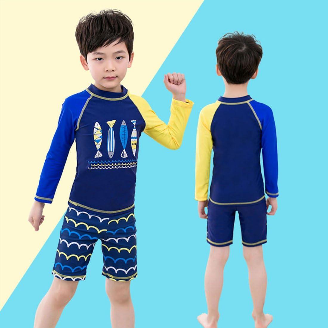 Happy Cherry Kids Rashguard Sets Cartoon Long Sleeve Swimming Sunsuit Two-Piece Wetsuit
