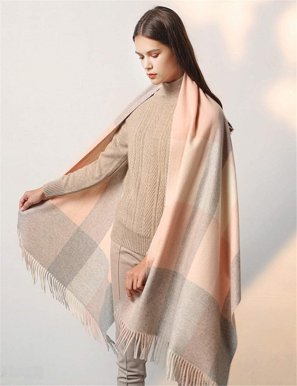 Dr.COLORFUL Large Soft Plaid Scarf Women Tassel Thicken Oversized Wrap Shawl Winter Soft Warm Cashmere Long Blanket Scarves 200/×65cmLight Pink