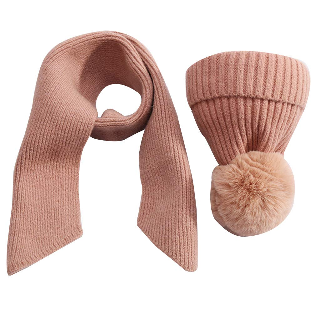 Toddler Girls Kids Winter Warm Scarves and Hats Sets Solid Color Scarf