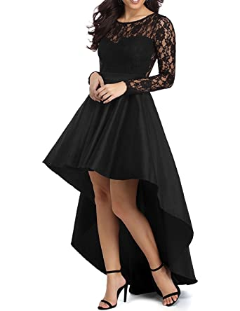 Kevins Bridal Womens Elegant Lace High Low Formal Prom Dress Long Sleeve Party Gowns Black Size