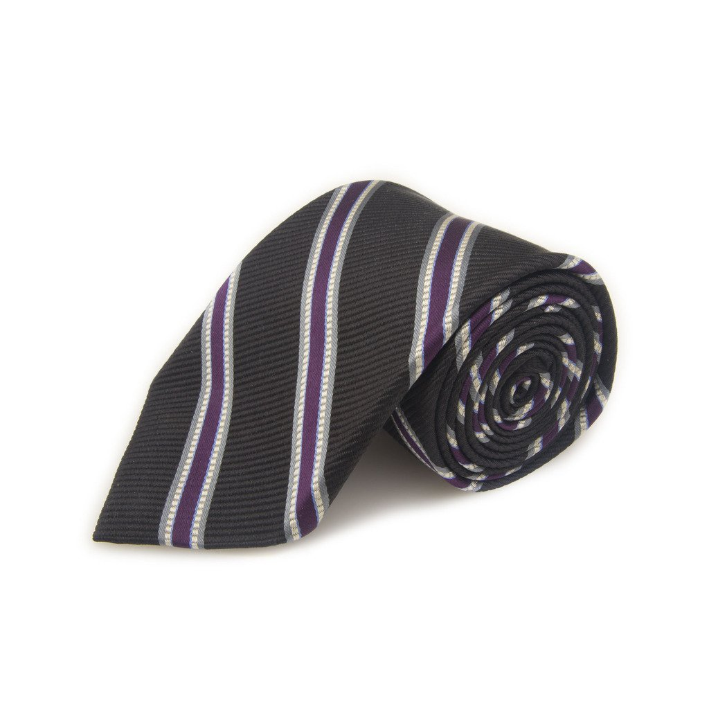 Robert Talbott Best Of Class Black And Purple Stripe Woven Silk Tie