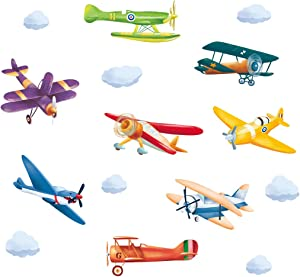 ufengke Colorful Airplane Wall Stickers Aircraft Biplane DIY Wall Decals Art Decor for Kids Boys Bedroom Nursery Playroom