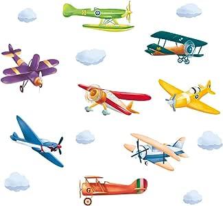 ufengke Pegatinas de Pared Avión Colorido Vinilos Adhesivas Pared Aeronave Biplano para Dormitorio Habitación Infantiles Niños Sala de Estar: Amazon.es: Hogar