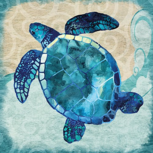 (Portfolio Canvas Decor Portfolio Décor Canvas Print Wall Art-Blues Sea Turtle by Jill Meyer Stretched and Wrapped, Ready to Hang-35x35, 35x35)
