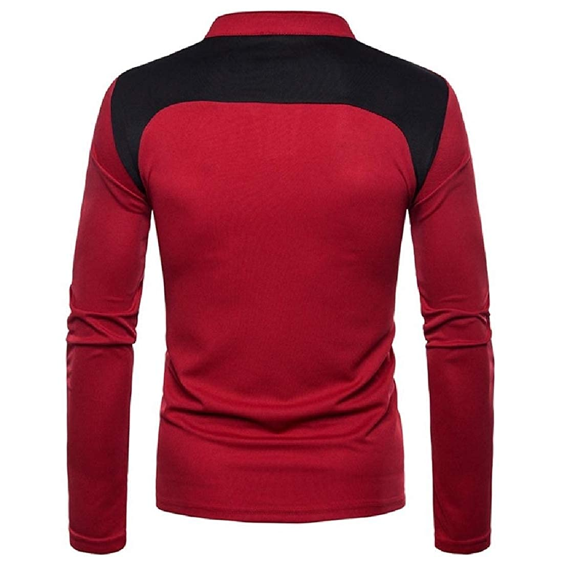 Mens Splicing Mao Collar Tops Pullover Fashion T-Shirts