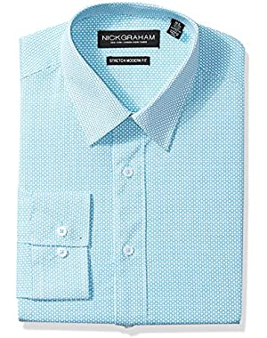 Men's Modern Fitted Tile Print Stretch Shirt