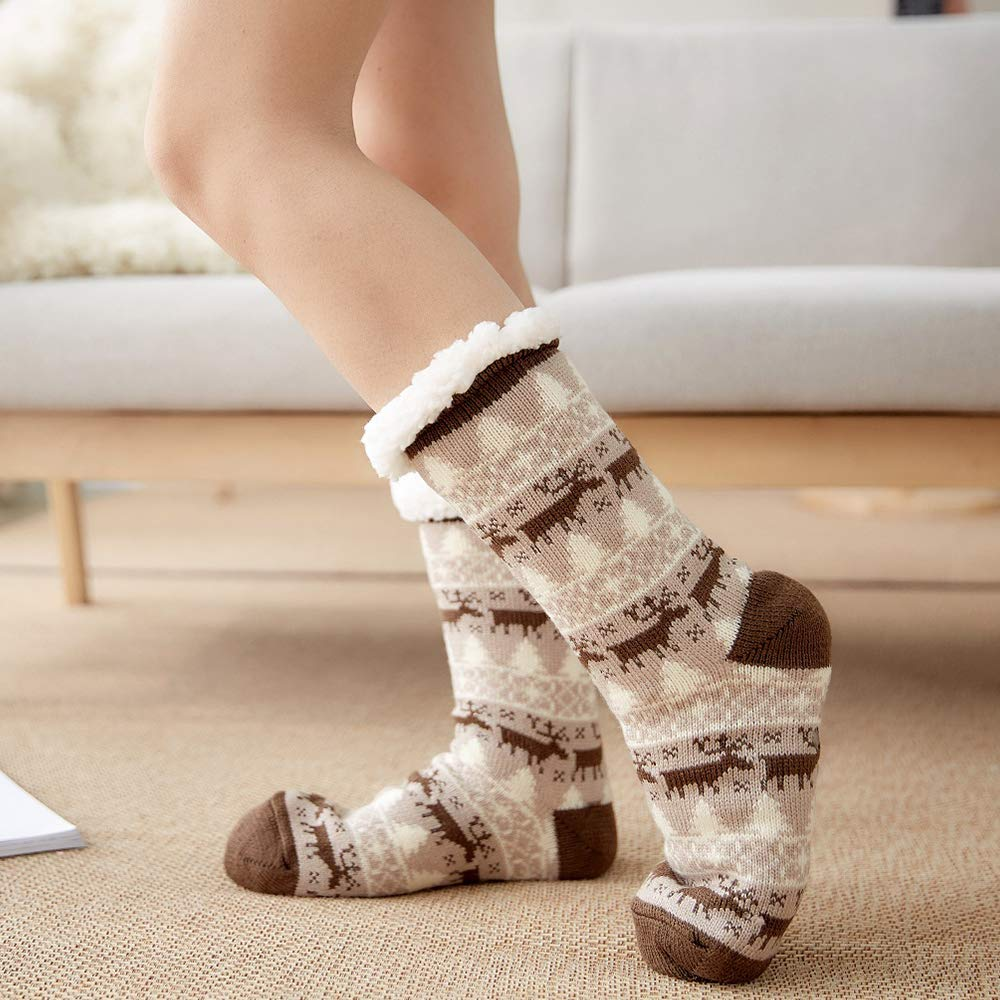 4YOUALL Womens Fleece Lining Soft Warm Fuzzy Sock, Christmas Thermal Knee High Stockings Slipper Socks (Coffee Deer)