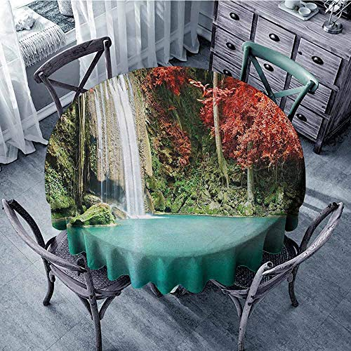 - ScottDecor Dining Round Tablecloth Waterfall,Nature Single Waterfall in Corner of The Deep Forest with Fair Fall Oak Trees,Red and Blue Printed Tablecloth Diameter 60