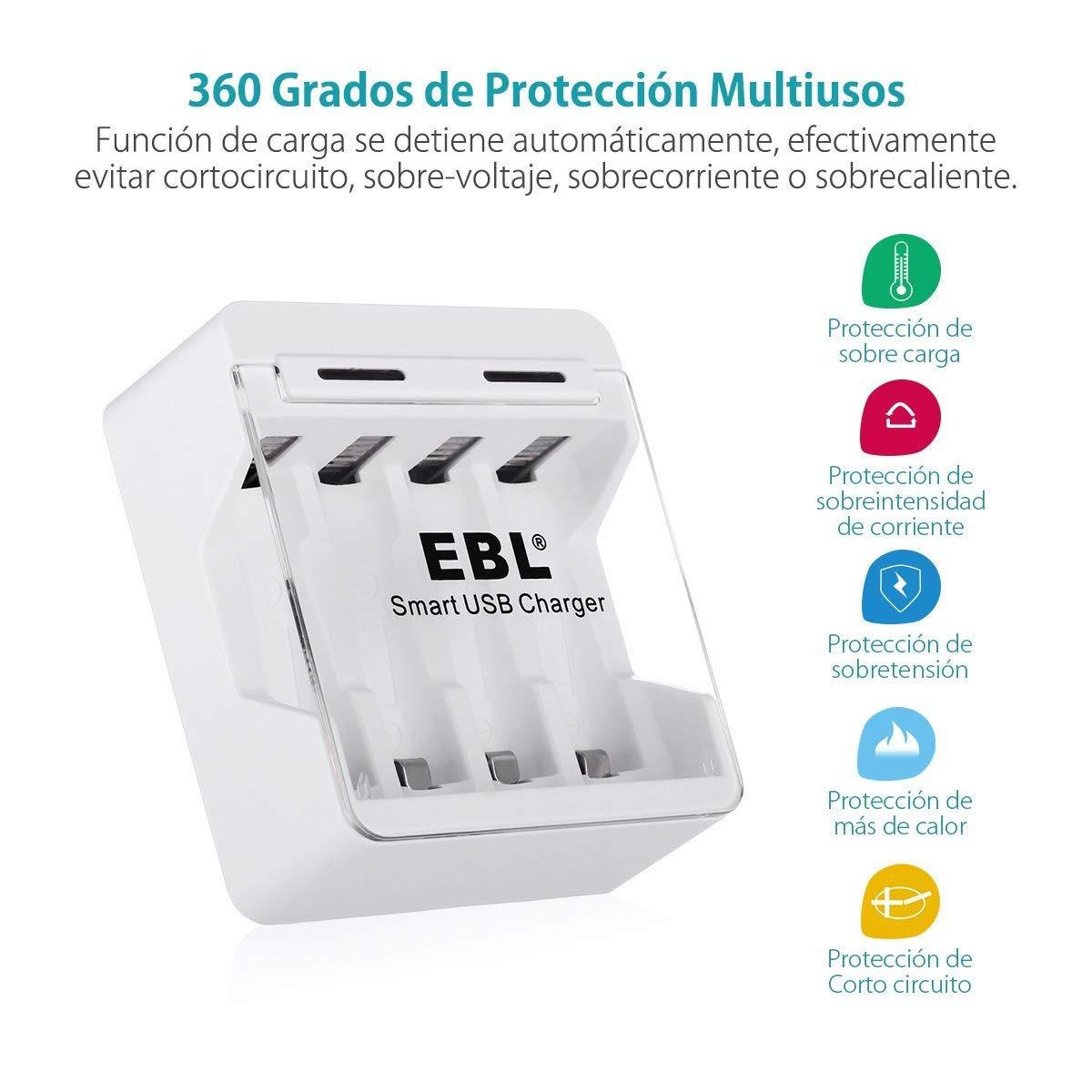EBL Cargador de Baterías para 2/4 AA/AAA Ni-MH Ni-CD Pila Recargable con Puerto USB modos de Carga (Color Blanco)