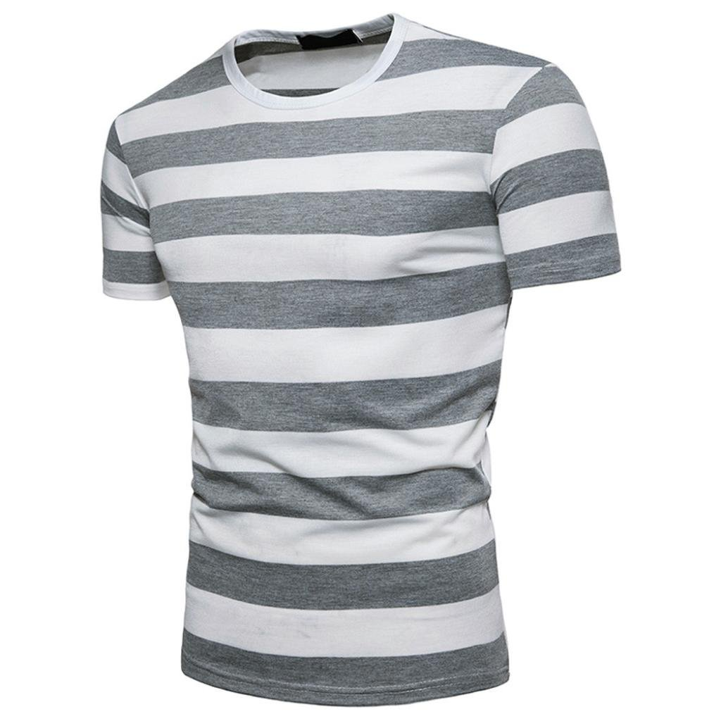 6d63b1e89 Amazon.com: WM & MW Striped T-Shirt, Boys Men's Short Sleeve Basic Casual  Round Neck Pullover Top Tee Shirts Blouse: Clothing