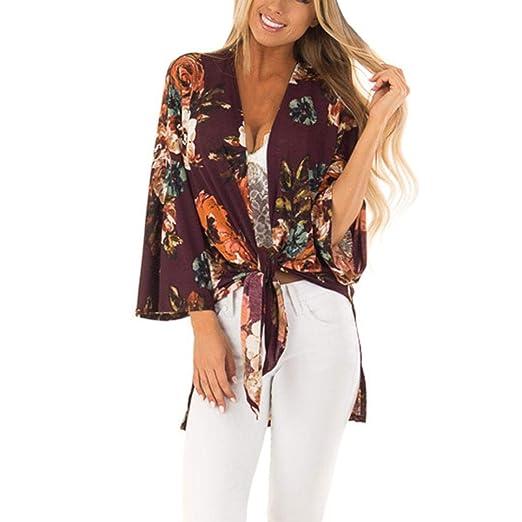 7e7ec8bd9a Women's Kimono Cardigan Floral Chiffon Casual Cover Ups Boho-Chic Style  Beach Blouse