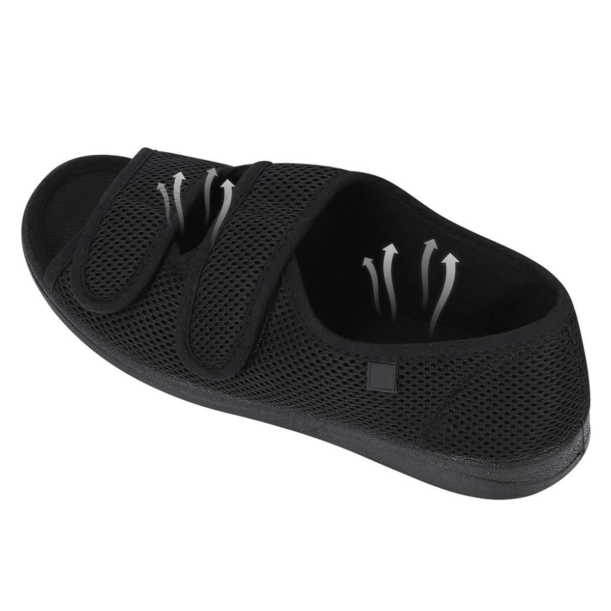 Femme Chaussons Diab/étiques Chaussure R/églable Orthop/édique Sandales Bout Ouvert Large Chausson Fermeture Scratch pour Personne /Âg/ée Pieds Gonfl/és Arthrite Oed/ème Swollen Pantoufle Int/érieur Ext/é
