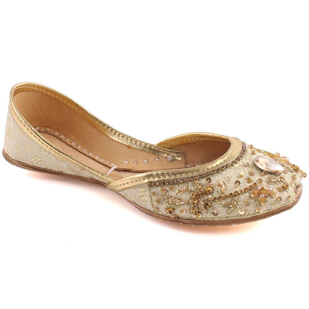 "Unze Girls ""Hanna"" Girls Wedding Pearls Flats Stone Indian Kids Khussa UK Size 1-13 - WS-31-KIDS"