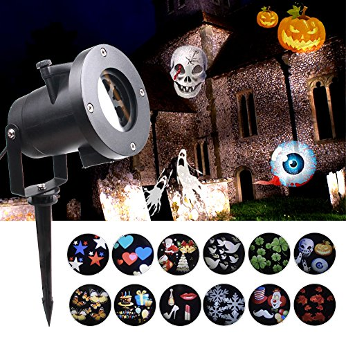 KOOT Halloween Lights,12 Pattern LED Light Projector Outdoor Waterproof Landscape Holiday Projector for Decoration Lighting on Halloween Christmas Holiday Birthday Wedding Party