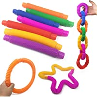 7pcs Pop Tube Toys Fidget Pop Tube Sensory Toys Stretch Pipe Pull & Multi-Color Tubes Toys Great as Relief Kids and…