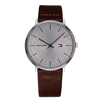 869bbd526 Image Unavailable. Image not available for. Color: Tommy Hilfiger Men's  Stainless Steel Quartz Watch with Leather Calfskin Strap, Brown ...