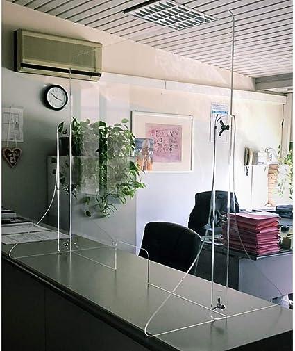 Parplus - Panel separador de seguridad para parásitos, protector antibacteriano de acrílico transparente, 6 x 750 x 5 mm, patas atornilladas autónomas con agujero pasacarte PARPLUS-600 x 750 x 5 F: Amazon.es: Hogar