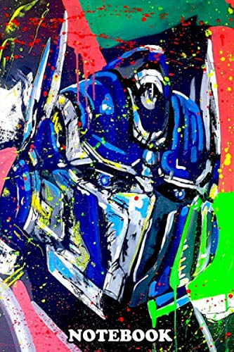 """Notebook: Painting Of Transformer Optimus , Journal for Writing, College Ruled Size 6"""" x 9"""", 110 Pages"""
