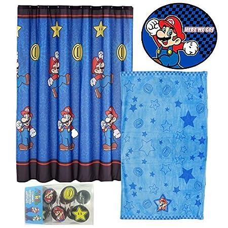 Mario Shower Curtain Rings Towel Rug Set Nintendo Bathroom by Nintendo