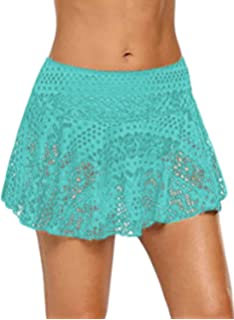 51039ff185 JomeDesign Swim Skirts for Women Lace Crochet Skirted Bikini Bottoms  Swimsuit Skort Swimdress