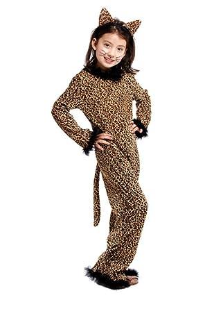 e91c90d323b6 Amazon.com: Honeystore Kids Pretty Leopard Cat Dress Up Role Play Halloween  Costume Jumpsuit: Clothing