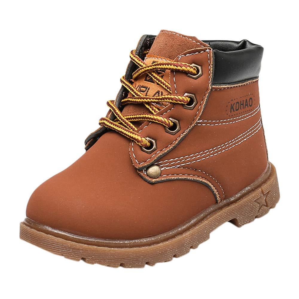 Webla(TM) Hiver Automne Martin Sneaker Bottes Enfants, Bottillons Mode Solide Garçons Filles Bébé Chaud Lacets Chaussures Décontractées pour 3.5-6 Ans
